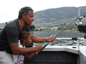 Father and daughter fishing charter on Osoyoos lake BC