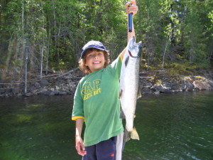 Tyrel with a Mabel Lake Rainbow Trout